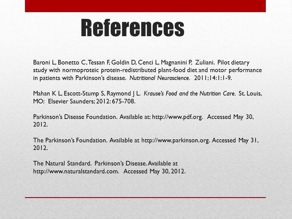 References Baroni L, Bonetto C, Tessan F, Goldin D, Cenci L, Magnanini P, Zuliani. Pilot dietary study with normoproteic protein-redistributed plant-f