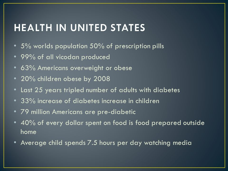 5% worlds population 50% of prescription pills 99% of all vicodan produced 63% Americans overweight or obese 20% children obese by 2008 Last 25 years
