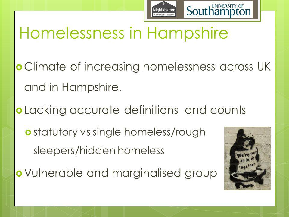 Homelessness in Hampshire Climate of increasing homelessness across UK and in Hampshire.