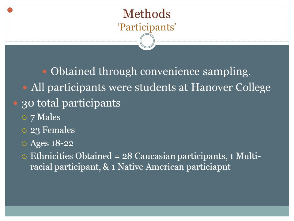 Methods Participants Obtained through convenience sampling.