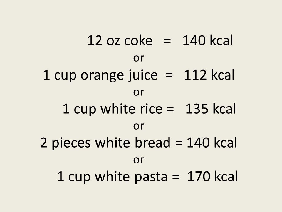 12 oz coke = 140 kcal or 1 cup orange juice = 112 kcal or 1 cup white rice = 135 kcal or 2 pieces white bread = 140 kcal or 1 cup white pasta = 170 kc
