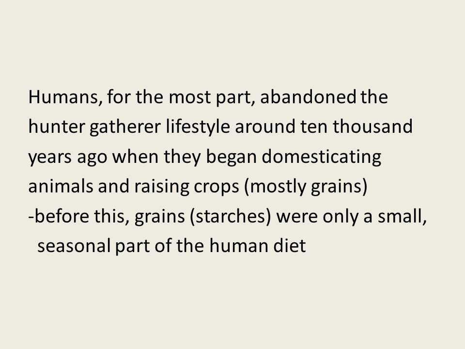 Humans, for the most part, abandoned the hunter gatherer lifestyle around ten thousand years ago when they began domesticating animals and raising crops (mostly grains) -before this, grains (starches) were only a small, seasonal part of the human diet