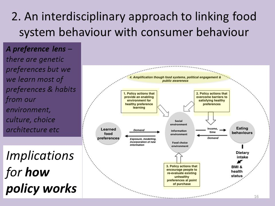 2. An interdisciplinary approach to linking food system behaviour with consumer behaviour 16 Implications for how policy works A preference lens – the