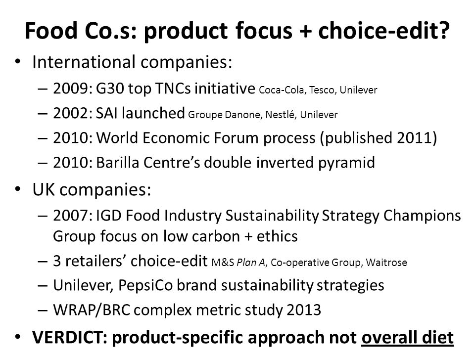 6 Food Co.s: product focus + choice-edit.