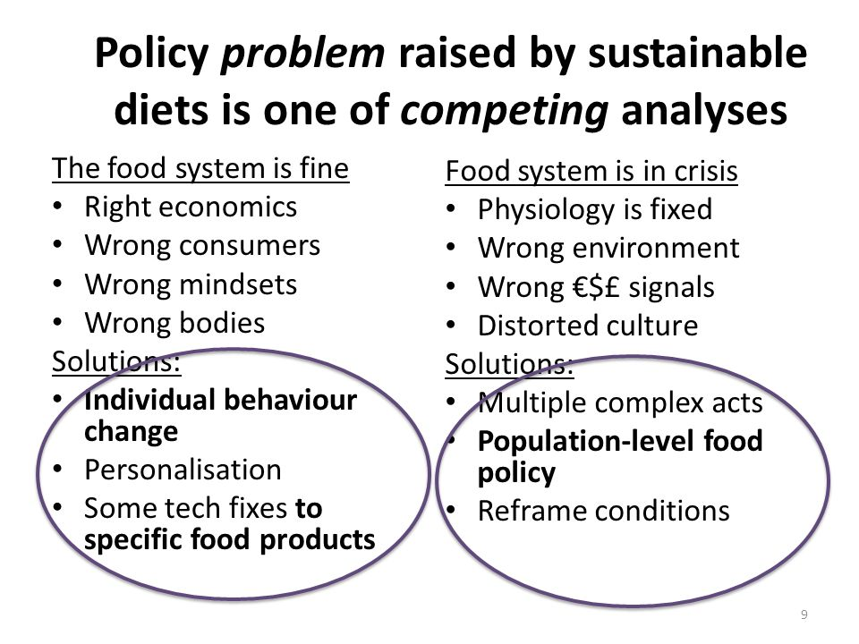 Policy problem raised by sustainable diets is one of competing analyses The food system is fine Right economics Wrong consumers Wrong mindsets Wrong bodies Solutions: Individual behaviour change Personalisation Some tech fixes to specific food products Food system is in crisis Physiology is fixed Wrong environment Wrong $£ signals Distorted culture Solutions: Multiple complex acts Population-level food policy Reframe conditions 9