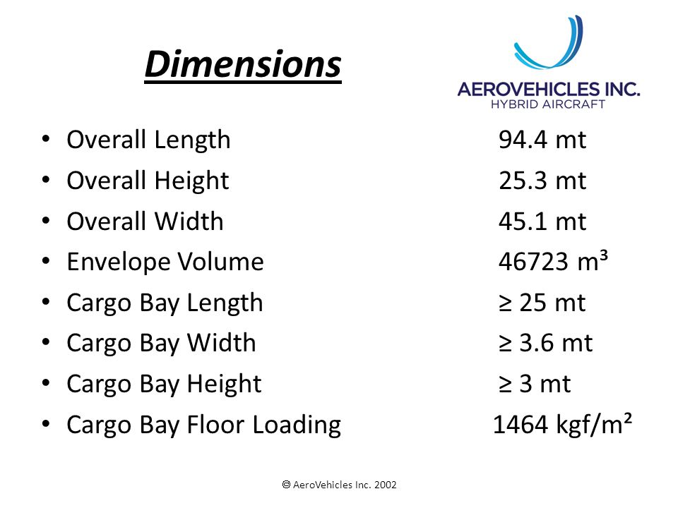 Dimensions Overall Length 94.4 mt Overall Height 25.3 mt Overall Width 45.1 mt Envelope Volume 46723 m³ Cargo Bay Length 25 mt Cargo Bay Width 3.6 mt