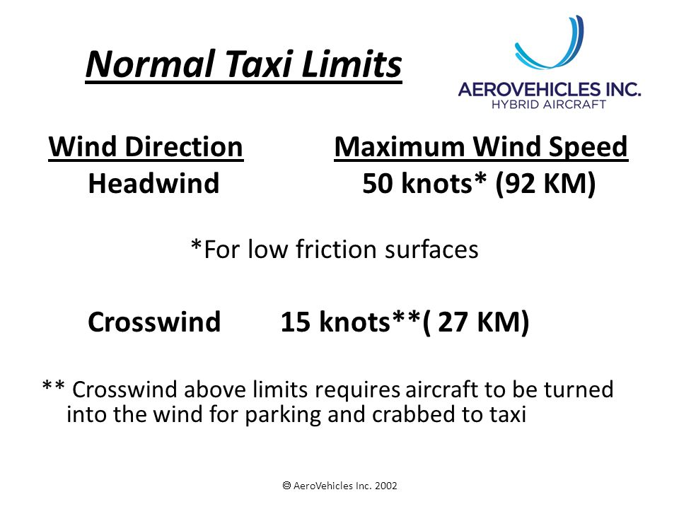 Normal Taxi Limits Wind Direction Maximum Wind Speed Headwind 50 knots* (92 KM) *For low friction surfaces Crosswind 15 knots**( 27 KM) ** Crosswind a