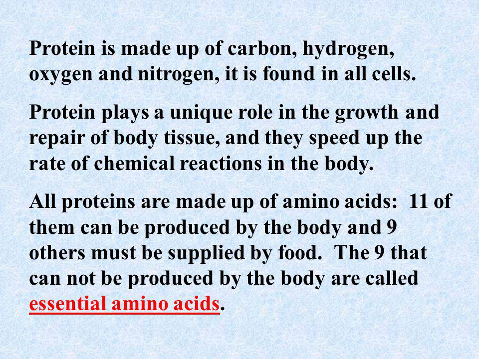 Proteins These are the basic components of body tissue and they also provide energy.