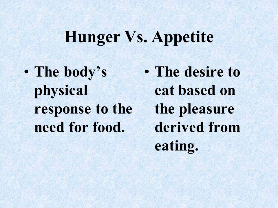 Hunger Vs.Appetite The bodys physical response to the need for food.