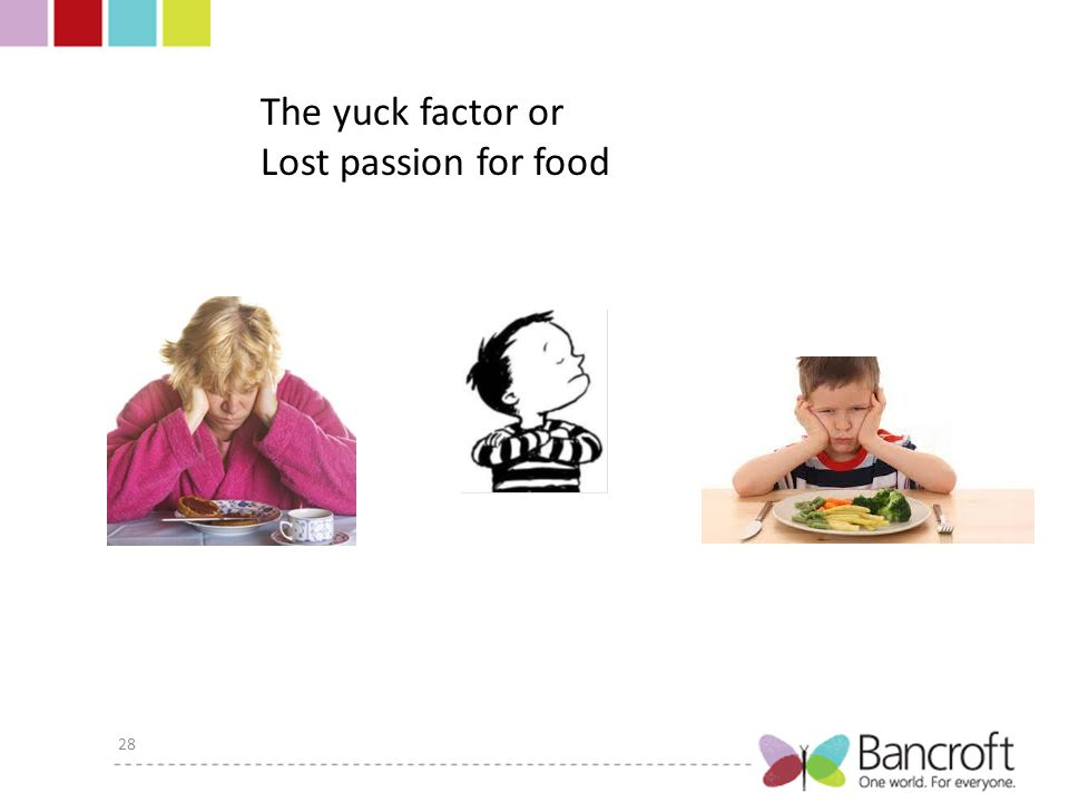 28 The yuck factor or Lost passion for food