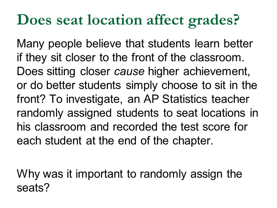Does seat location affect grades.