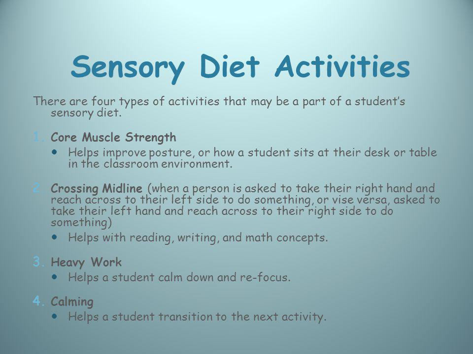 Sensory Diet Activities There are four types of activities that may be a part of a students sensory diet. 1. Core Muscle Strength Helps improve postur