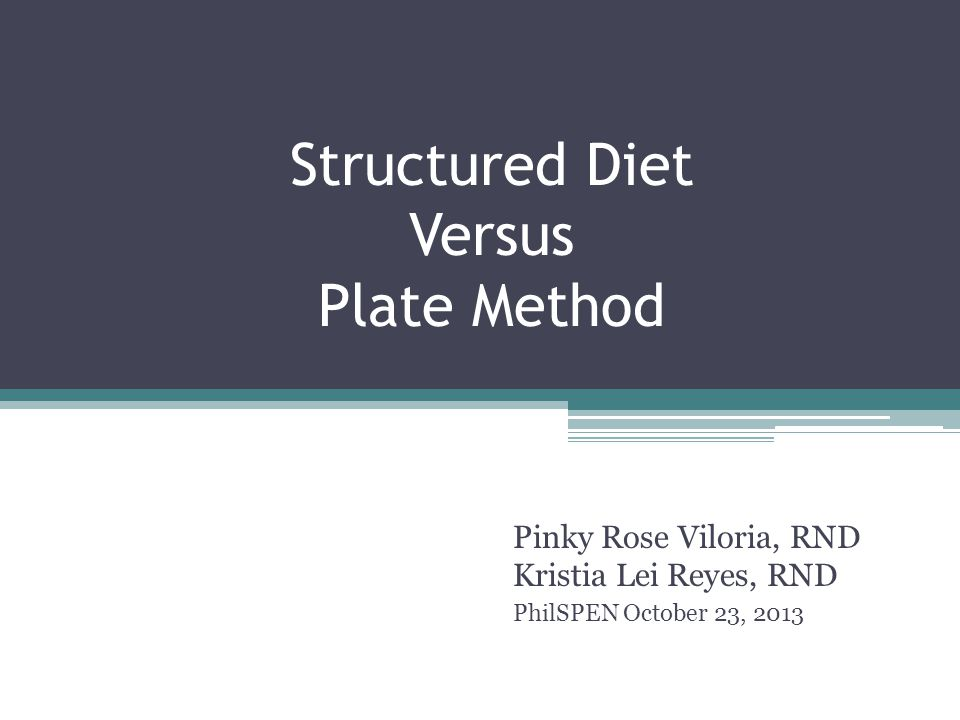 Structured Diet Versus Plate Method Pinky Rose Viloria, RND Kristia Lei Reyes, RND PhilSPEN October 23, 2013