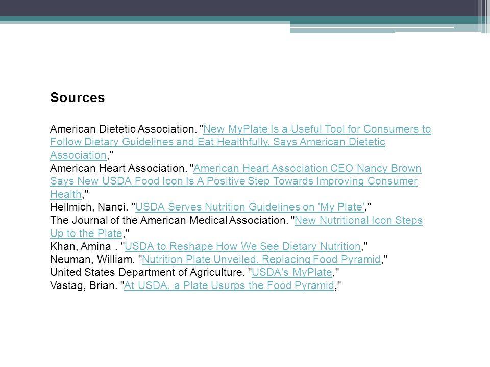Sources American Dietetic Association.