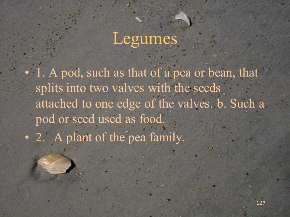 127 Legumes 1. A pod, such as that of a pea or bean, that splits into two valves with the seeds attached to one edge of the valves. b. Such a pod or s