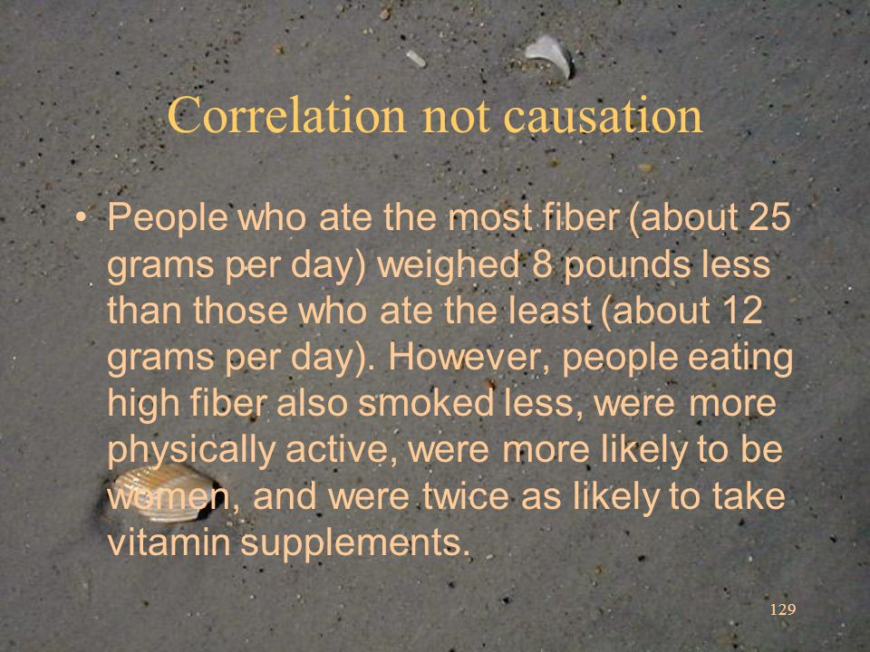 129 Correlation not causation People who ate the most fiber (about 25 grams per day) weighed 8 pounds less than those who ate the least (about 12 grams per day).