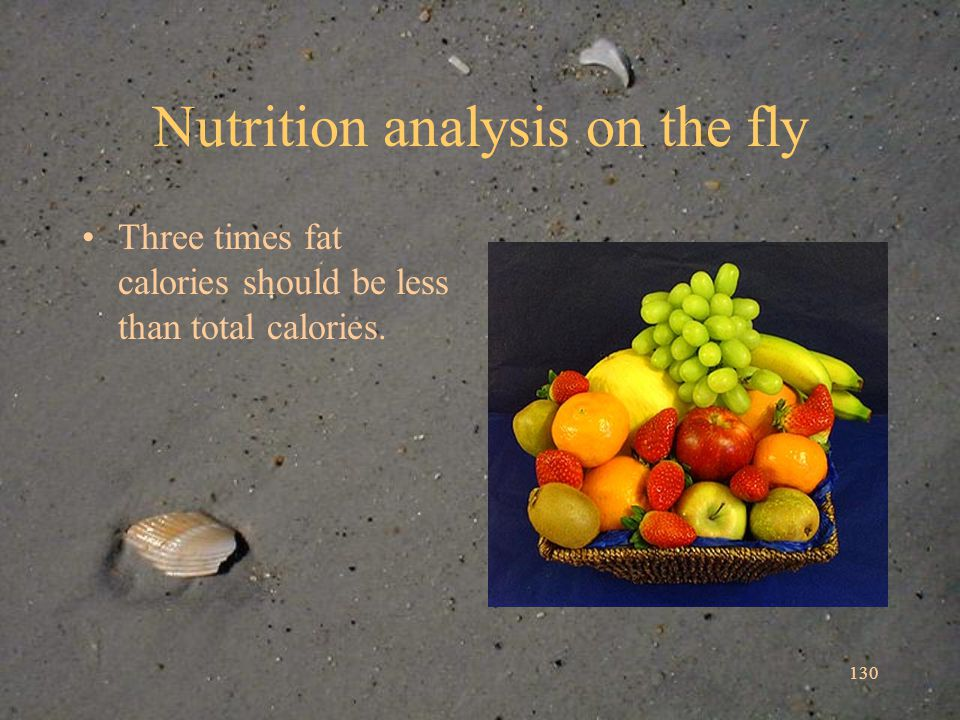 130 Nutrition analysis on the fly Three times fat calories should be less than total calories.
