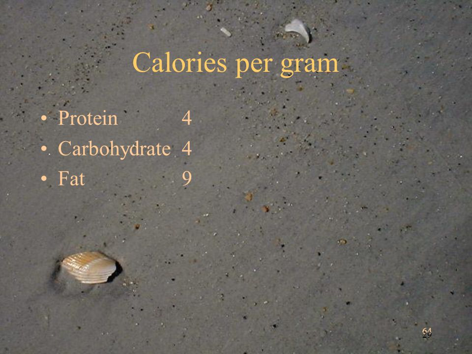 64 29 Calories per gram Protein4 Carbohydrate4 Fat9