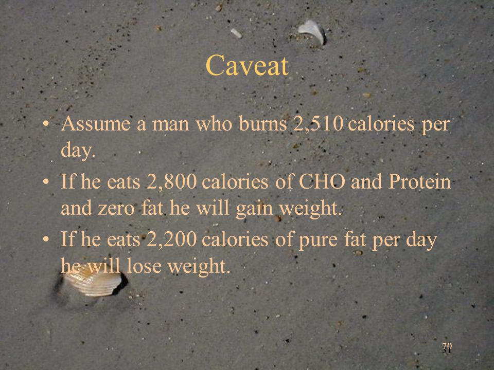 70 31 Caveat Assume a man who burns 2,510 calories per day. If he eats 2,800 calories of CHO and Protein and zero fat he will gain weight. If he eats