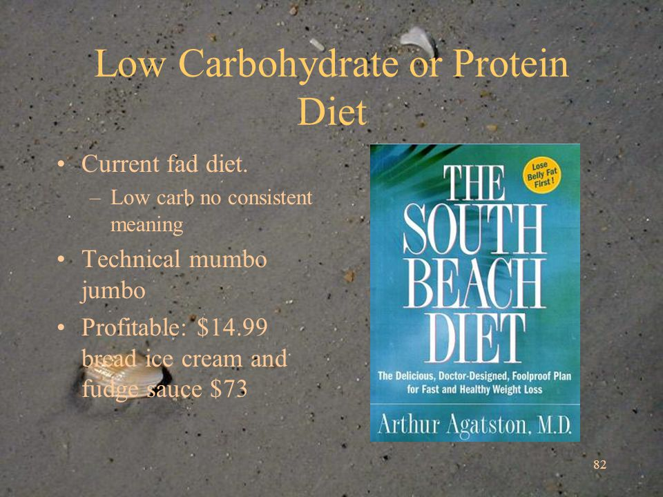 82 Low Carbohydrate or Protein Diet Current fad diet.