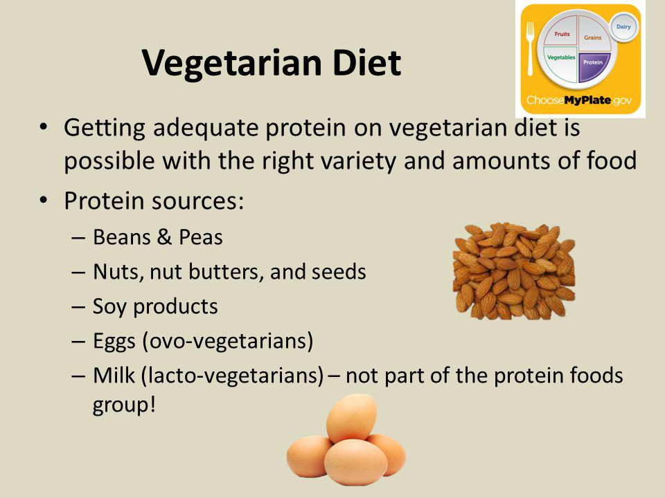 Vegetarian Diet Getting adequate protein on vegetarian diet is possible with the right variety and amounts of food Protein sources: – Beans & Peas – Nuts, nut butters, and seeds – Soy products – Eggs (ovo-vegetarians) – Milk (lacto-vegetarians) – not part of the protein foods group!