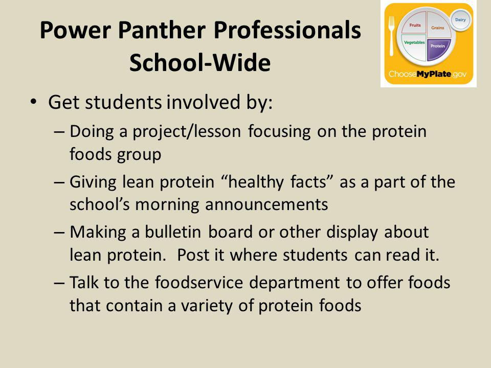Power Panther Professionals School-Wide Get students involved by: – Doing a project/lesson focusing on the protein foods group – Giving lean protein healthy facts as a part of the schools morning announcements – Making a bulletin board or other display about lean protein.