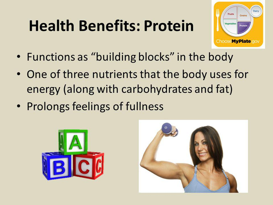 Health Benefits: Protein Functions as building blocks in the body One of three nutrients that the body uses for energy (along with carbohydrates and f
