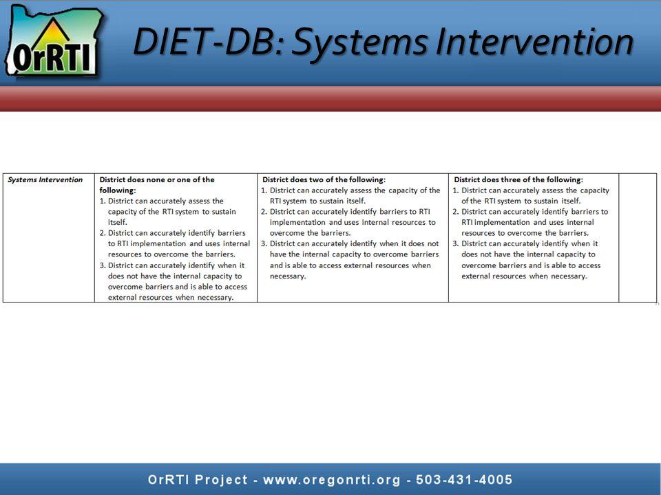 DIET-DB: Systems Intervention