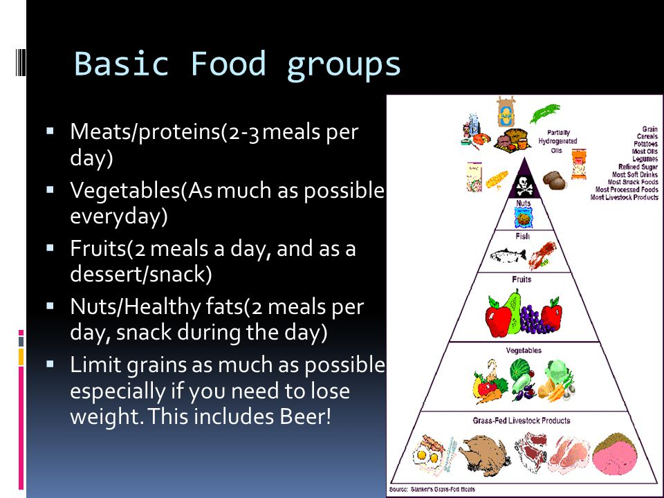 Basic Food groups Meats/proteins(2-3 meals per day) Vegetables(As much as possible everyday) Fruits(2 meals a day, and as a dessert/snack) Nuts/Healthy fats(2 meals per day, snack during the day) Limit grains as much as possible, especially if you need to lose weight.