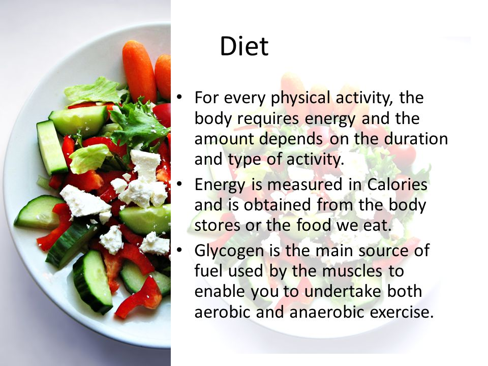 Diet – Eating for sport By combining diet and exercise a sportsperson can store up to 4 times the normal amount of glycogen.