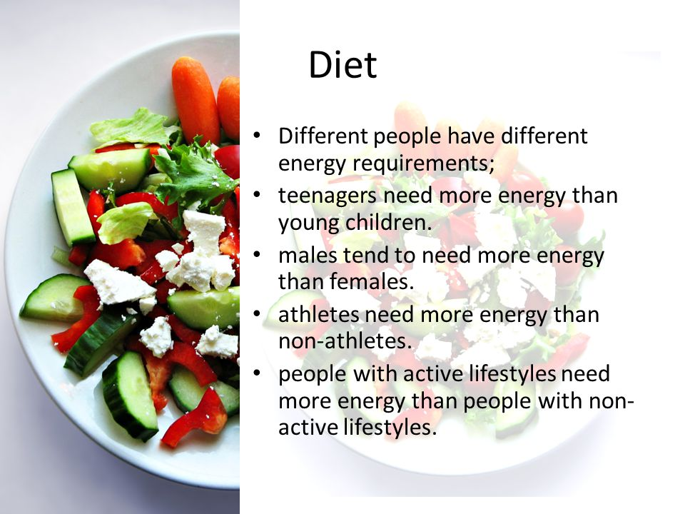 Diet – Energy Balance The bodys weight depends on how much food we take in compared to how much food is burnt by activity.