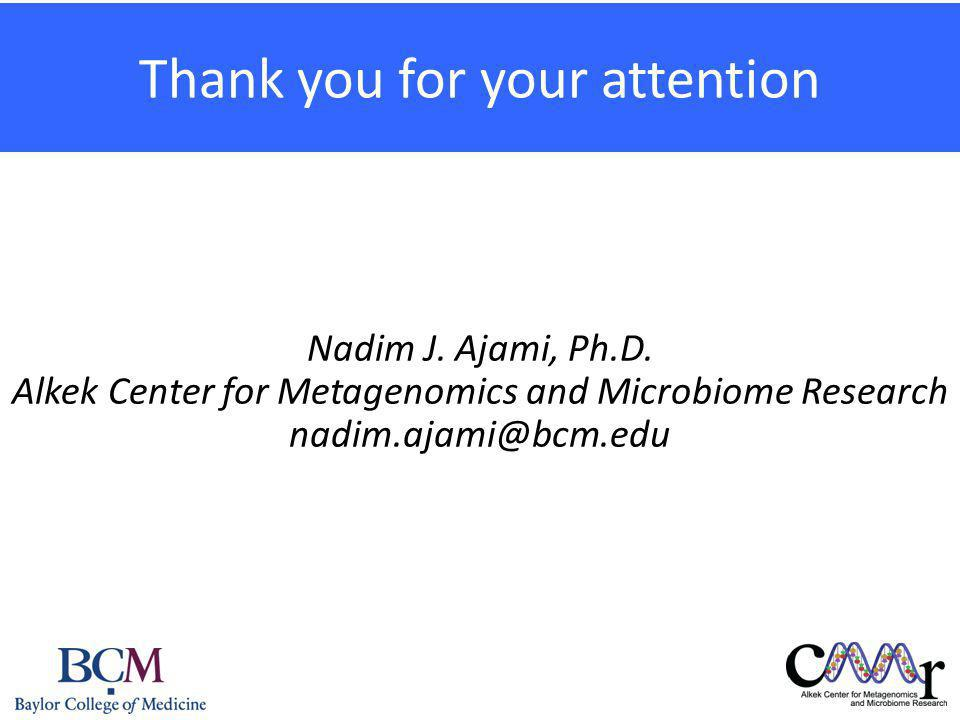 Thank you for your attention Nadim J.Ajami, Ph.D.