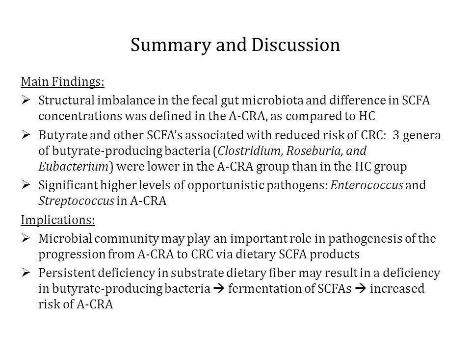 Summary and Discussion Main Findings: Structural imbalance in the fecal gut microbiota and difference in SCFA concentrations was defined in the A-CRA, as compared to HC Butyrate and other SCFAs associated with reduced risk of CRC: 3 genera of butyrate-producing bacteria (Clostridium, Roseburia, and Eubacterium) were lower in the A-CRA group than in the HC group Significant higher levels of opportunistic pathogens: Enterococcus and Streptococcus in A-CRA Implications: Microbial community may play an important role in pathogenesis of the progression from A-CRA to CRC via dietary SCFA products Persistent deficiency in substrate dietary fiber may result in a deficiency in butyrate-producing bacteria fermentation of SCFAs increased risk of A-CRA