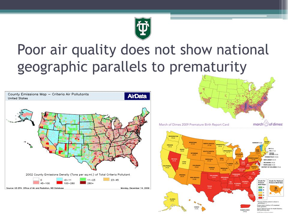 Poor air quality does not show national geographic parallels to prematurity