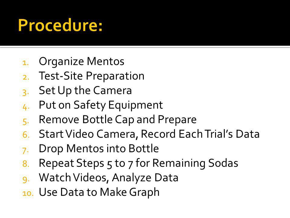 1. Organize Mentos 2. Test-Site Preparation 3. Set Up the Camera 4.