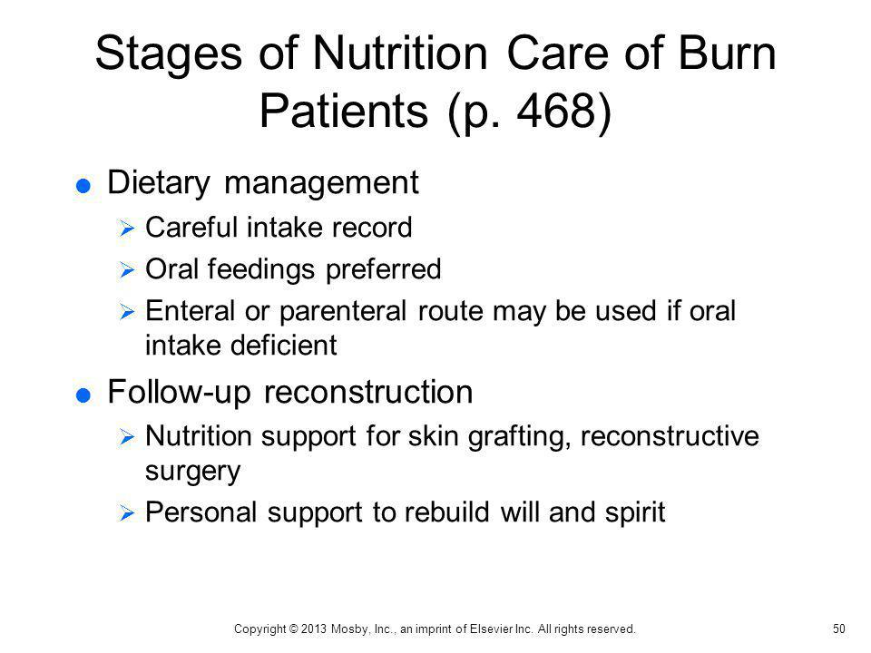Stages of Nutrition Care of Burn Patients (p. 468) Dietary management Careful intake record Oral feedings preferred Enteral or parenteral route may be
