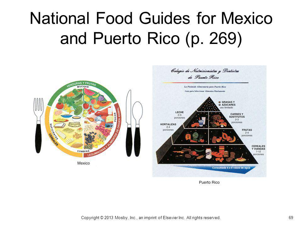 National Food Guides for Mexico and Puerto Rico (p. 269) 69 Copyright © 2013 Mosby, Inc., an imprint of Elsevier Inc. All rights reserved.
