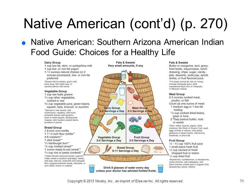 Native American (contd) (p. 270) Native American: Southern Arizona American Indian Food Guide: Choices for a Healthy Life 71 Copyright © 2013 Mosby, I