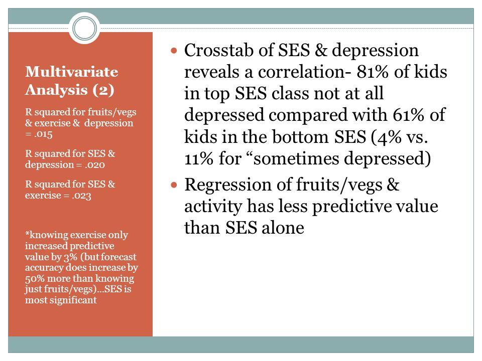 Multivariate Analysis (2) R squared for fruits/vegs & exercise & depression =.015 R squared for SES & depression =.020 R squared for SES & exercise =.023 *knowing exercise only increased predictive value by 3% (but forecast accuracy does increase by 50% more than knowing just fruits/vegs)...SES is most significant Crosstab of SES & depression reveals a correlation- 81% of kids in top SES class not at all depressed compared with 61% of kids in the bottom SES (4% vs.