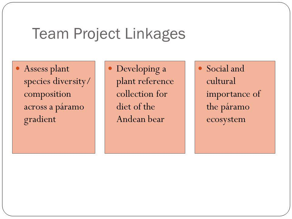 Team Project Linkages Assess plant species diversity/ composition across a páramo gradient Developing a plant reference collection for diet of the And