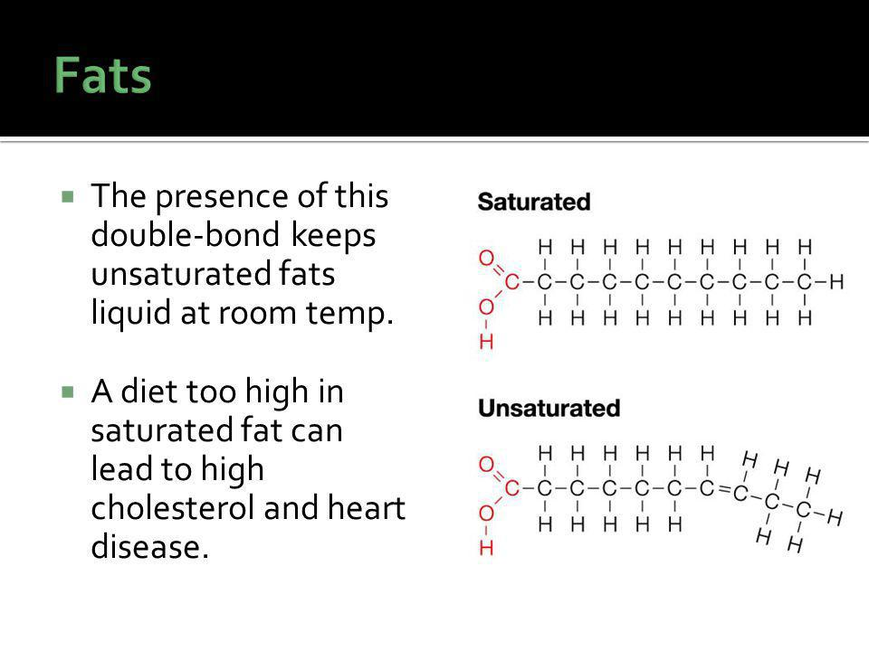 The presence of this double-bond keeps unsaturated fats liquid at room temp.
