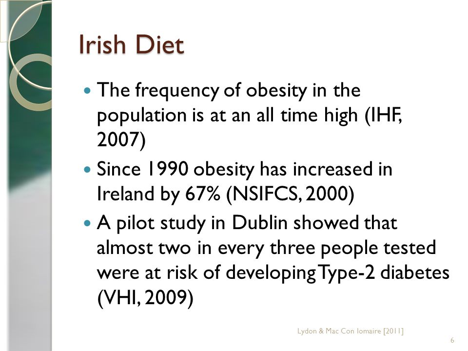 Irish Diet 10,000 people die each year from cardiovascular disease (CVD) including coronary heart disease (CHD), stroke and other circulatory diseases.