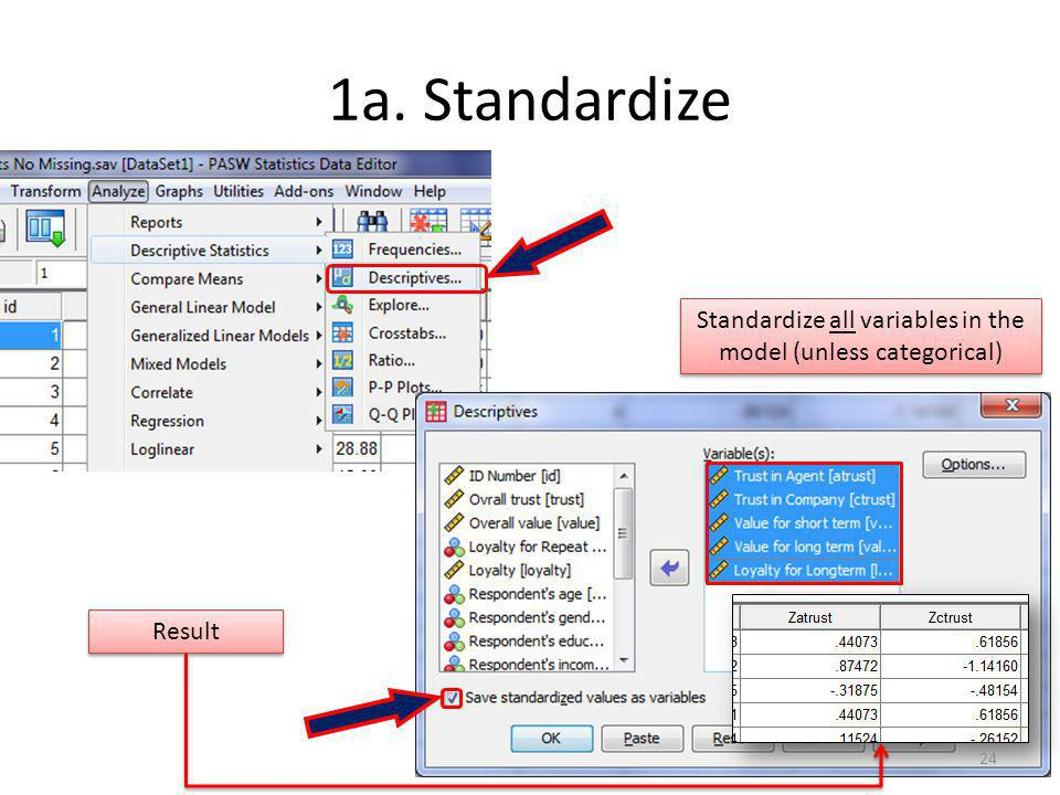 1a. Standardize Result Standardize all variables in the model (unless categorical) 24