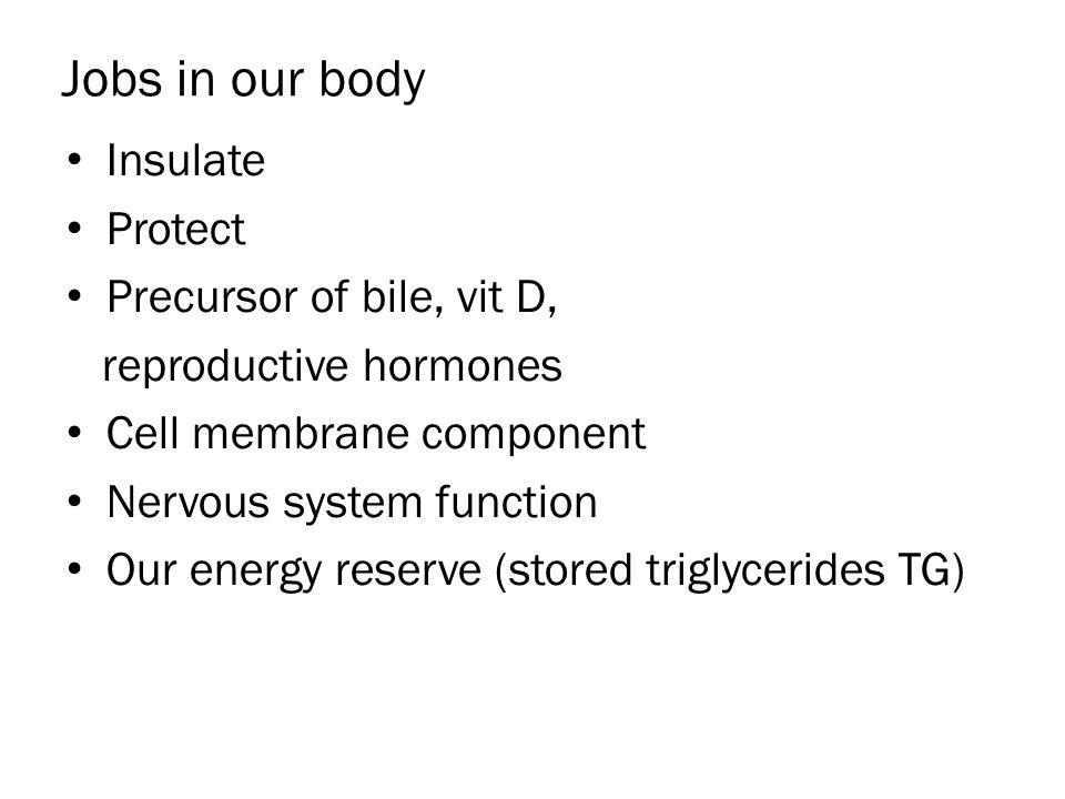 Jobs in our body Insulate Protect Precursor of bile, vit D, reproductive hormones Cell membrane component Nervous system function Our energy reserve (