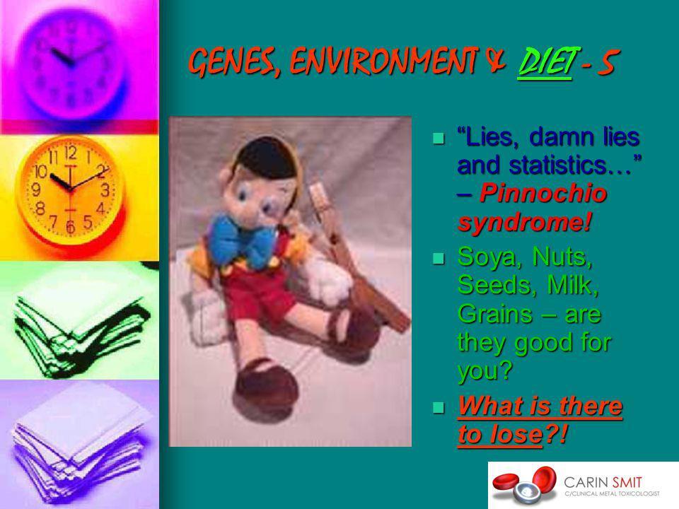 GENES, ENVIRONMENT & DIET - 5 Lies, damn lies and statistics… – Pinnochio syndrome.