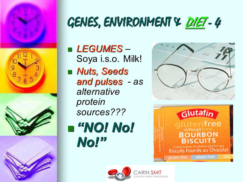 GENES, ENVIRONMENT & DIET - 4 LEGUMES – Soya i.s.o. Milk! LEGUMES – Soya i.s.o. Milk! Nuts, Seeds and pulses - as alternative protein sources??? Nuts,