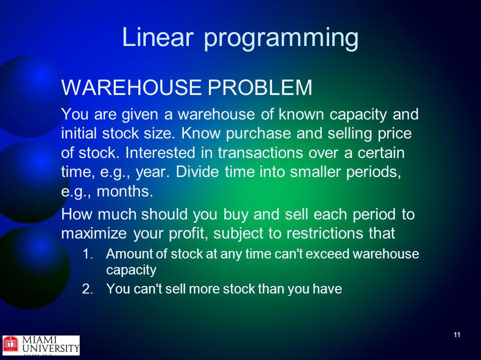 11 Linear programming WAREHOUSE PROBLEM You are given a warehouse of known capacity and initial stock size.