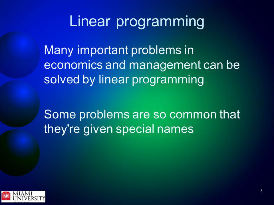 28 Linear programming MATLAB linear programming solver is linprog(), which you can call various ways: x = linprog(f,A,b) x = linprog(f,A,b,Aeq,beq) x = linprog(f,A,b,Aeq,beq,lb,ub) x = linprog(f,A,b,Aeq,beq,lb,ub,x0) x = linprog(f,A,b,Aeq,beq,lb,ub,x0,options) x = linprog(problem) [x,fval] = linprog(...) [x,fval,exitflag] = linprog(...) [x,fval,exitflag,output] = linprog(...) [x,fval,exitflag,output,lambda] = linprog(...)