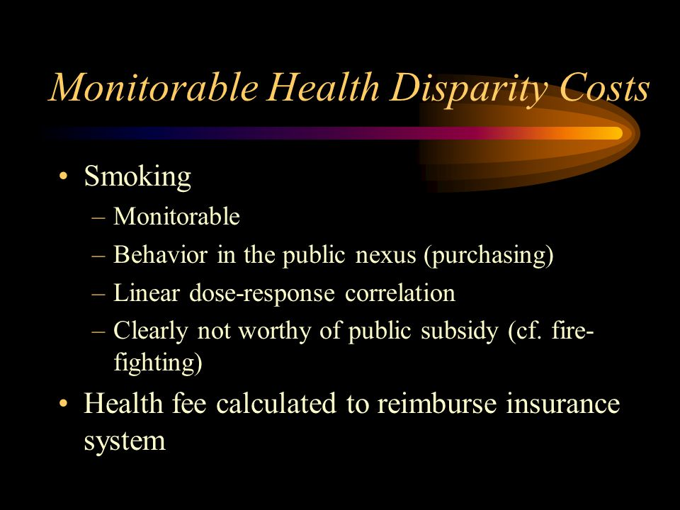 Monitorable Health Disparity Costs Smoking –Monitorable –Behavior in the public nexus (purchasing) –Linear dose-response correlation –Clearly not worthy of public subsidy (cf.