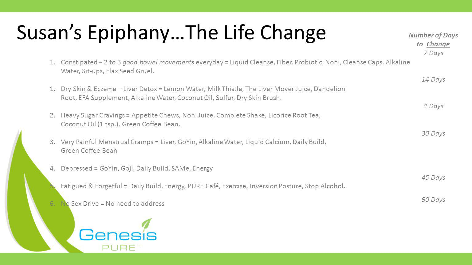 Susans Epiphany…The Life Change 1.Constipated – 2 to 3 good bowel movements everyday = Liquid Cleanse, Fiber, Probiotic, Noni, Cleanse Caps, Alkaline Water, Sit-ups, Flax Seed Gruel.